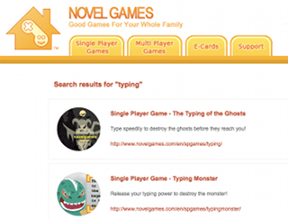 screenshot of novelgames-typing-games