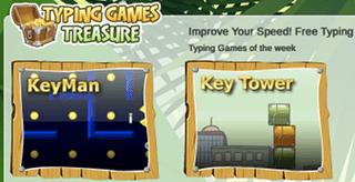 Key tower typing game