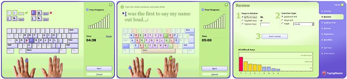 screenshot images of Typing Master keyboard layout