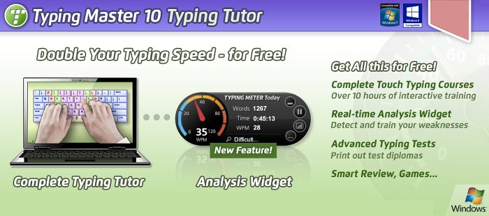 Image of Typing Master; a free typing tutor to help develop speed and accuracy.