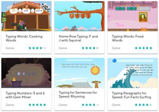 Screenshot image of typing games - education com