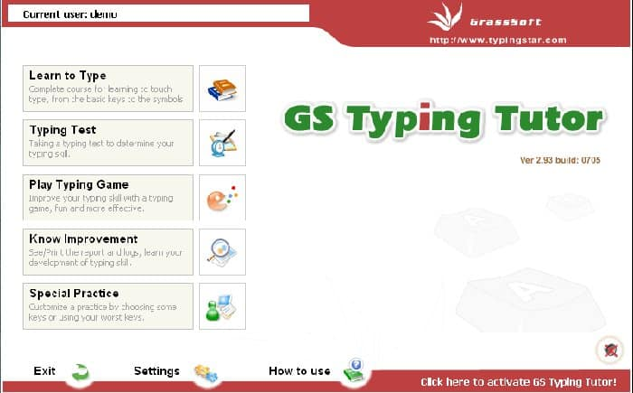 Image of GS Typing Tutor - Screenshot Dashboard