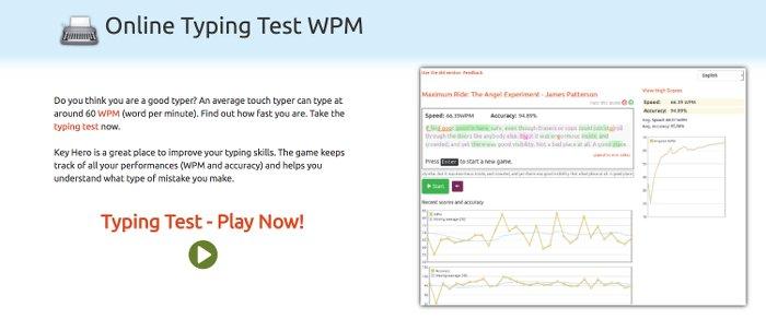 Image of KeyHero Typing Test