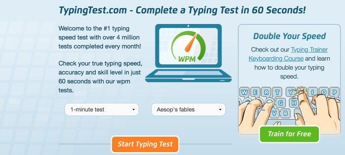 Image of typingtest. com test